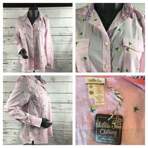 Matilda Jane ❤️NWT❤️Button Up Pink Checked Sz Lg